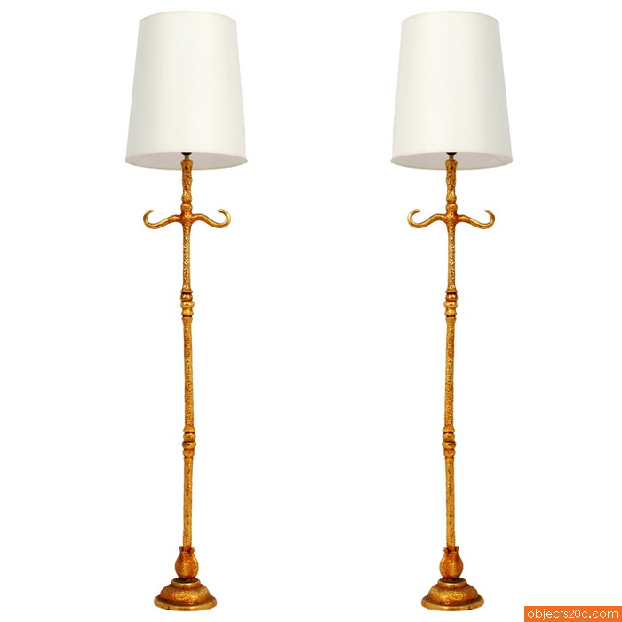 Fine and Rare Pair of De Wael for Fondica French Floor Lamps
