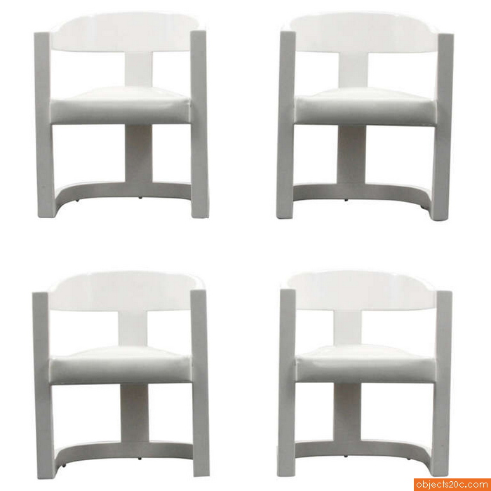 "Karl Springer ""Onassis"" Armchairs/Dining Chairs, Set of Four, Circa 1980"