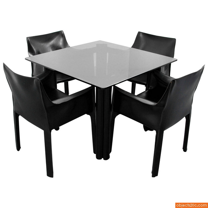 Mario Bellini Leather Chairs for Cassina & Acerbis International Table
