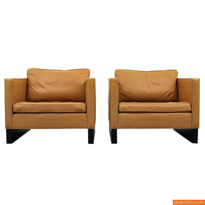 Pair of Large Mies van der Rohe Lounge Chairs, Cube Form, 1970
