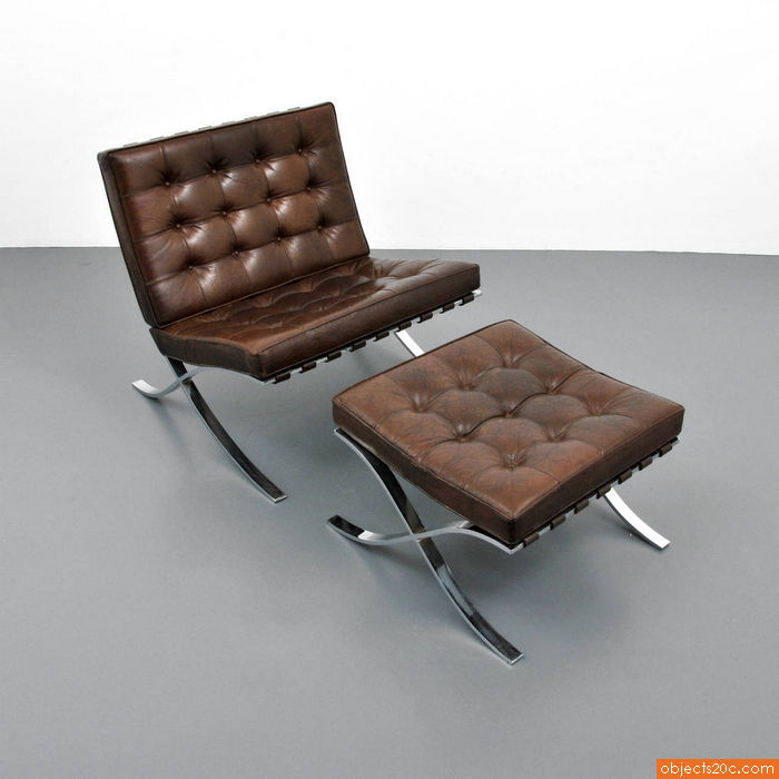 mies van der rohe barcelona chair and ottoman knoll sold