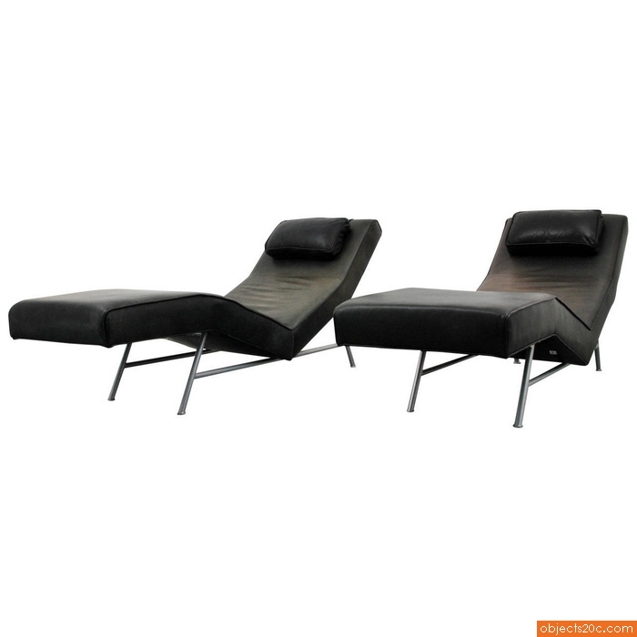 "Pair of Milo Baughman Leather ""Fred"" Chaise Lounge Chairs"