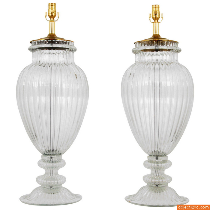 Pair of Monumental Murano Lamps