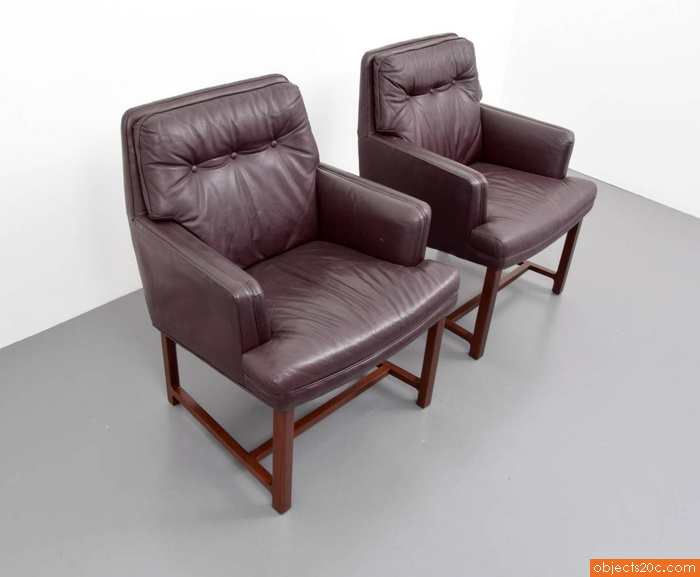 Edward Wormley Leather Armchairs, Set of Four