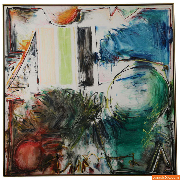 Large Abstract Painting by Joyce Weinstein, 1987