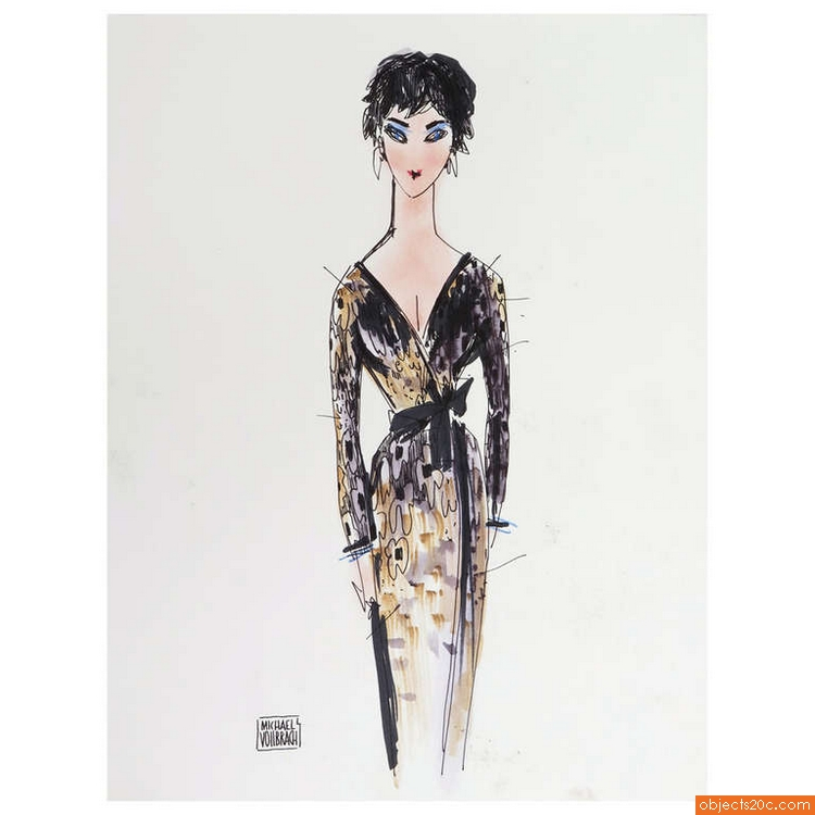 Original Michaele Vollbracht Fashion Drawing, Liz Taylor